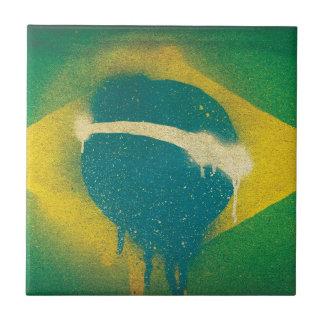 Brasil Flag Spray Paint Small Square Tile
