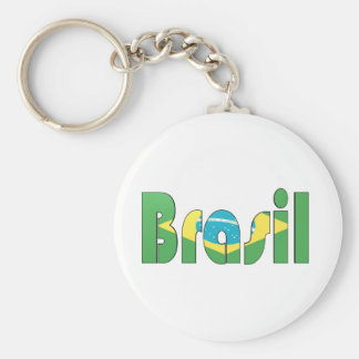 Brasil Flag T-shirt Basic Round Button Keychain