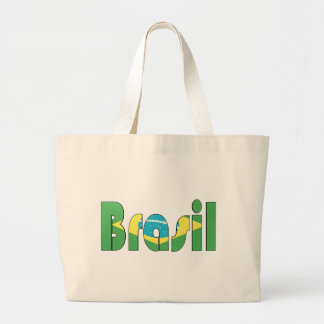 Brasil Flag T-shirt Large Tote Bag