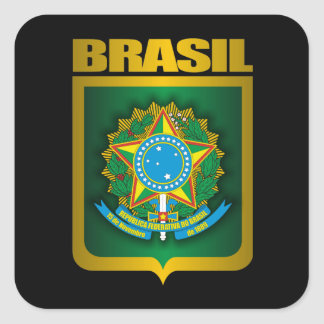 """Brasil Gold"" Square Sticker"