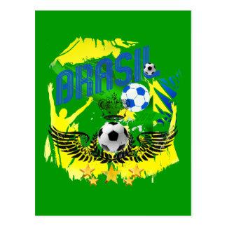 Brasil Grunge 2010 soccer lovers futbol gifts Post Cards