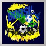 Brasil Grunge 2010 soccer lovers futbol gifts Print