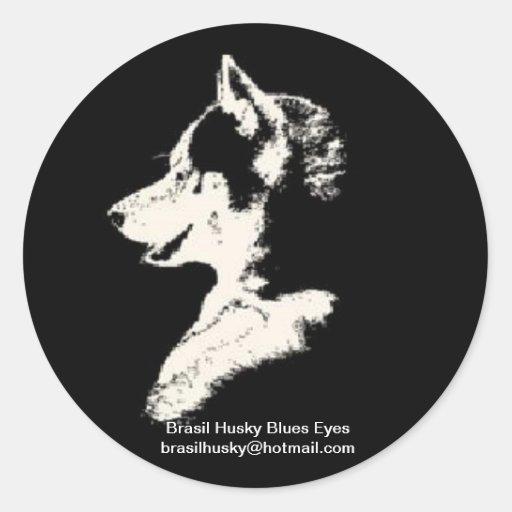 brasil husky pegatina redonda