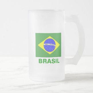 BRASIL 16 OZ FROSTED GLASS BEER MUG