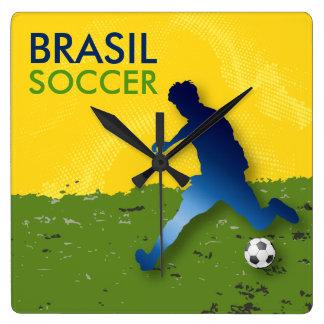Brasil Soccer Square Wallclock