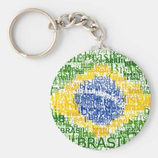 Brasil Text Flag Round Keychain