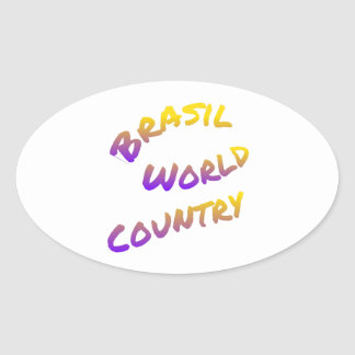 Brasil world country, colorful text art oval sticker