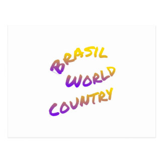 Brasil world country, colorful text art postcard