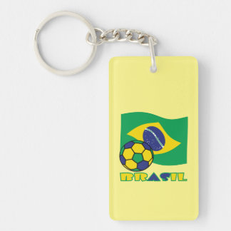 Brasileiro Futebol e Bandeira Llavero Rectangular Acrílico A Doble Cara
