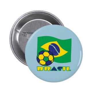 Brasileiro Futebol e Bandeira Pin Redondo 5 Cm