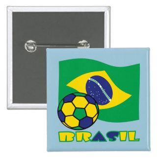 Brasileiro Futebol e Bandeira Pin Cuadrada 5 Cm
