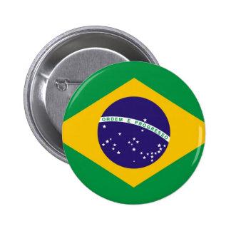 Brasilen@o de la bandera del Brasil Pin Redondo 5 Cm