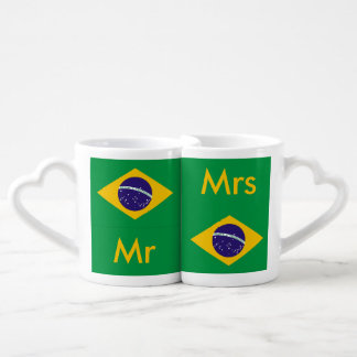 Brasilen@o de la bandera del Brasil Taza Para Parejas