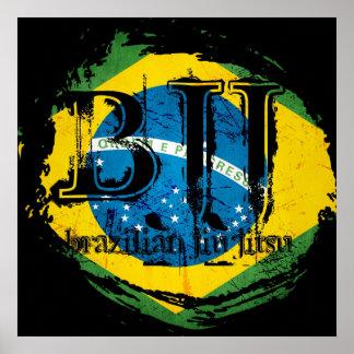 Brasilen o Jiu Jitsu - poster de la bandera del vó