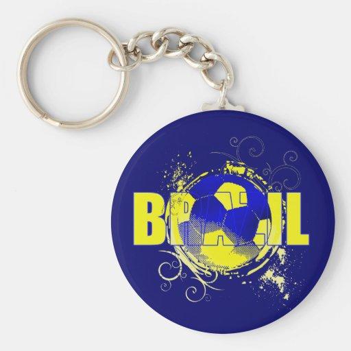 Brasilen@os retros del regalo del Grunge amarillo  Llavero Redondo Tipo Pin