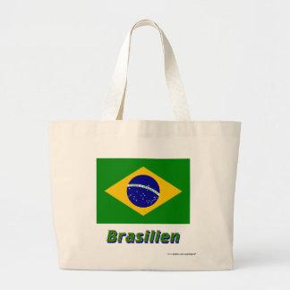Brasilien Flagge mit Namen Jumbo Tote Bag