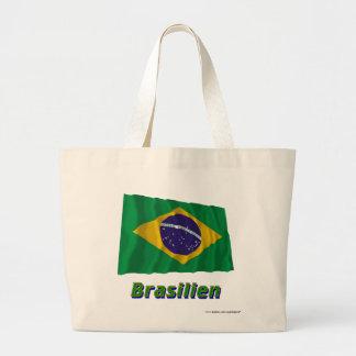 Brasilien Fliegende Flagge mit Namen Jumbo Tote Bag