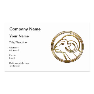 Brass and Copper Aries Zodiac Astrology Business Card