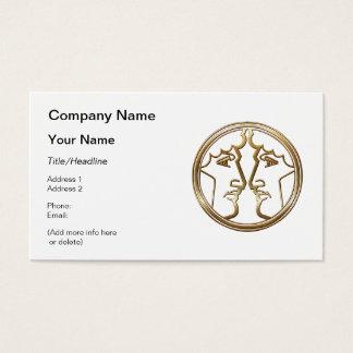 Brass and Copper Gemini Zodiac Astrology Business Card