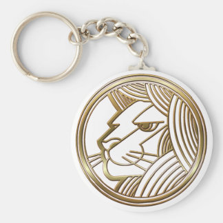 Brass and Copper Leo Basic Round Button Keychain