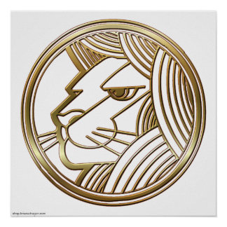Brass and Copper Leo Zodiac Astrology Posters