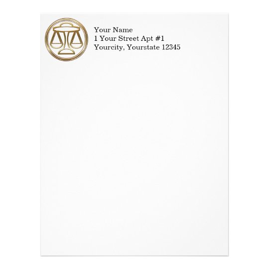 Brass and Copper Libra Zodiac Astrology Letterhead