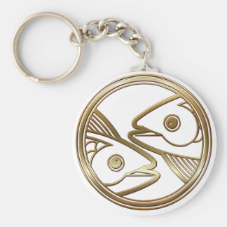 Brass and Copper Pisces Basic Round Button Keychain