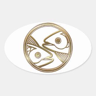 Brass and Copper Pisces Zodiac Astrology Oval Sticker
