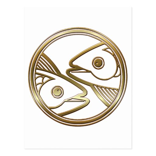 Brass and Copper Pisces Zodiac Astrology Post Card