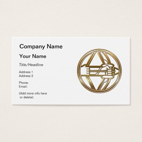 Brass and Copper Sagittarius Zodiac Astrology Business Card