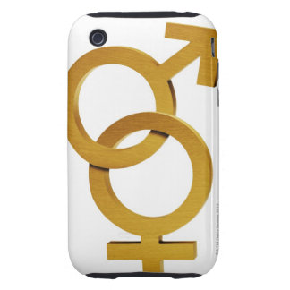 Brass and female and male symbols tough iPhone 3 case