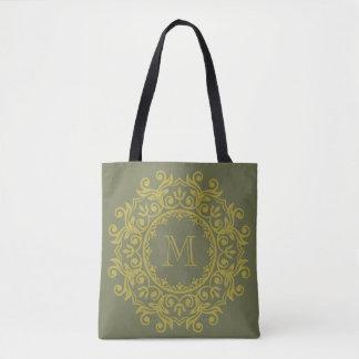 Brass and Hunter Green Scroll Wreath Monogram Tote Bag