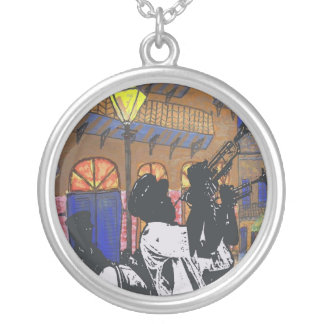 Brass Band At Pirates Alley Round Pendant Necklace