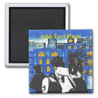 Brass Band, New Orleans add text 2 Inch Square Magnet