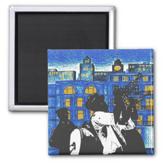Brass Band, New Orleans 2 Inch Square Magnet