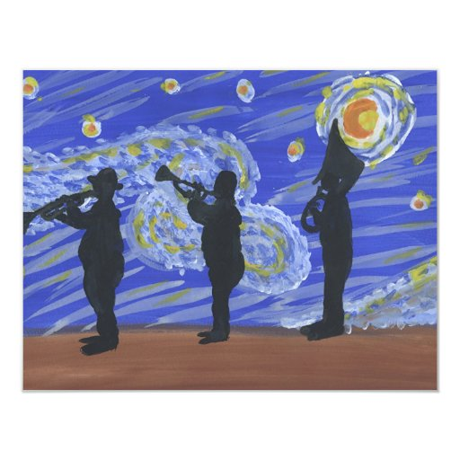 """Brass Band New Orleans Starry Night 4.25"""" X 5.5"""" Invitation Card"""