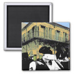 Brass Band, New Orleans Treme French Quarter Music 2 Inch Square Magnet