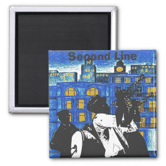 Brass Band, Second Line, New Orleans add text 2 Inch Square Magnet