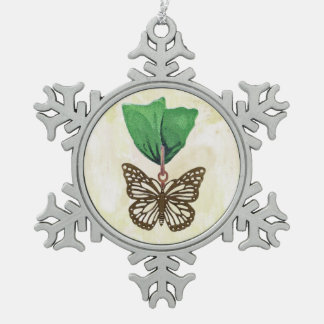 Brass Butterfly on Green Ribbon Snowflake Pewter Christmas Ornament