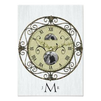 Brass Clock 1st Wedding Anniversary Card