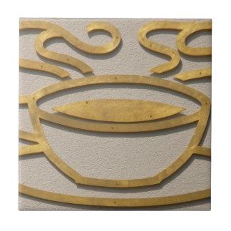 Brass Coffee Sign Ceramic Tile