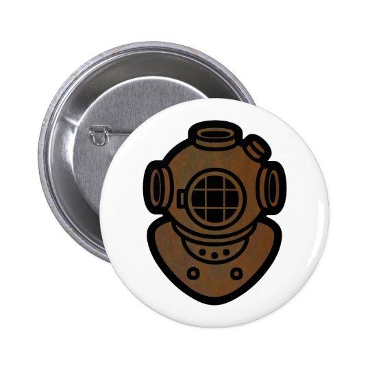 Brass Diving Helmet Pinback Button