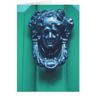 BRASS DOOR KNOCKER IN SHAPE OF WOMAN'S HEAD CARD