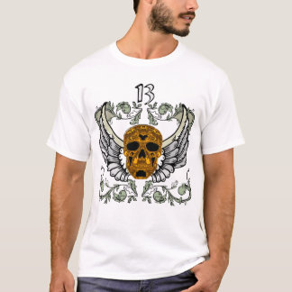 Brass Embossed Skull 13 Hour Wing Clock T-Shirt