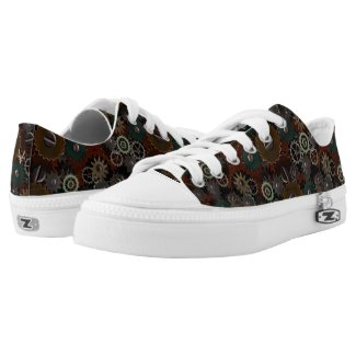 Brass Gears Steampunk Monogram Rust Low Tops Shoes