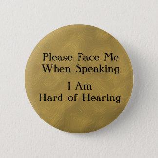 Brass Hard of Hearing Button
