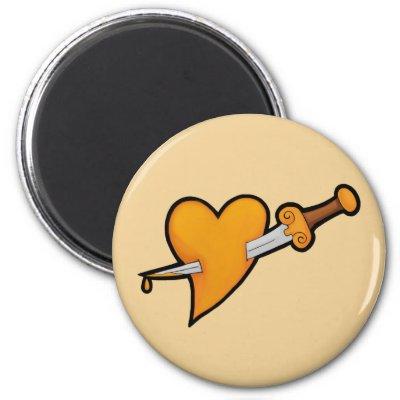 Brass Heart and Dagger Tattoo Fridge Magnets by toxiferousdark