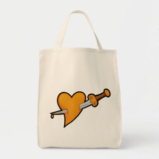 Brass Heart and Dagger Tattoo Tote Bag