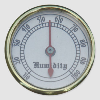 Brass Humidity Meter Classic Round Sticker