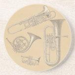 Brass Instruments Vintage Drawings Drink Coaster